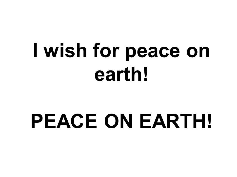 I wish for peace on earth! PEACE ON EARTH!