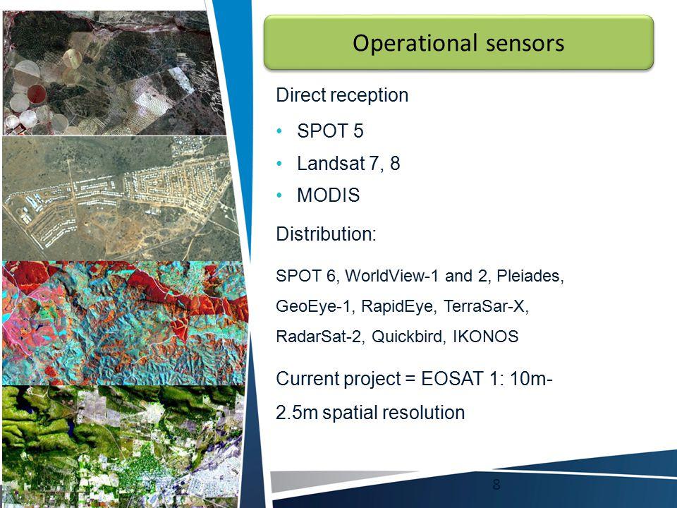 Operational sensors Direct reception SPOT 5 Landsat 7, 8 MODIS