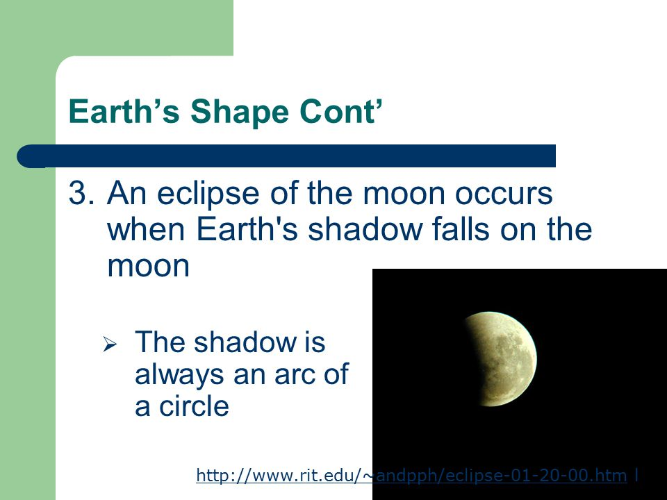 An eclipse of the moon occurs when Earth s shadow falls on the moon