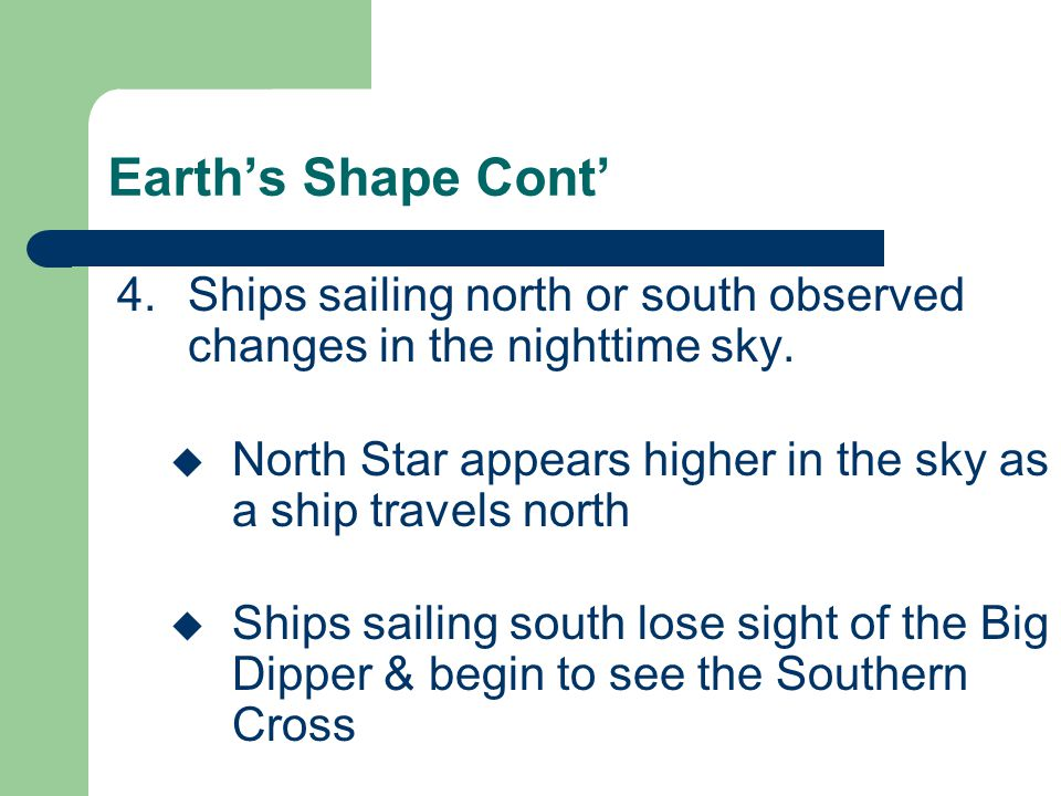 Earth's Shape Cont' Ships sailing north or south observed changes in the nighttime sky. North Star appears higher in the sky as a ship travels north.