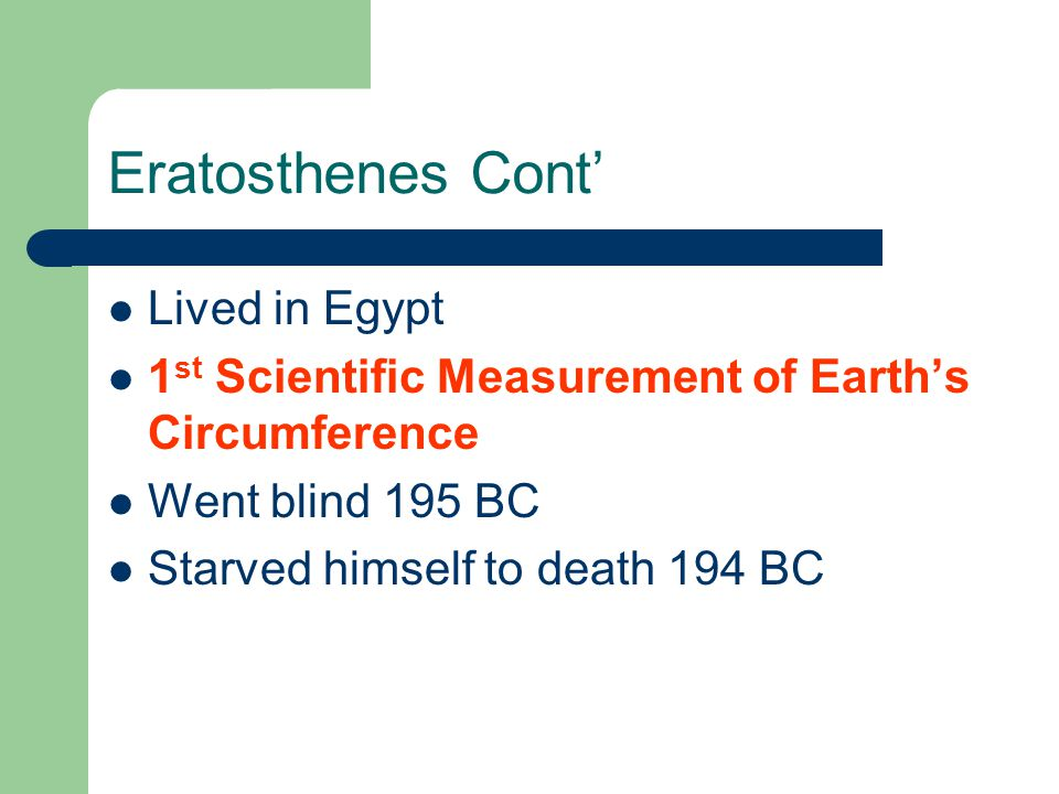 Eratosthenes Cont' Lived in Egypt