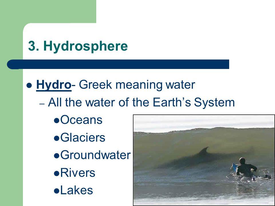 3. Hydrosphere Hydro- Greek meaning water