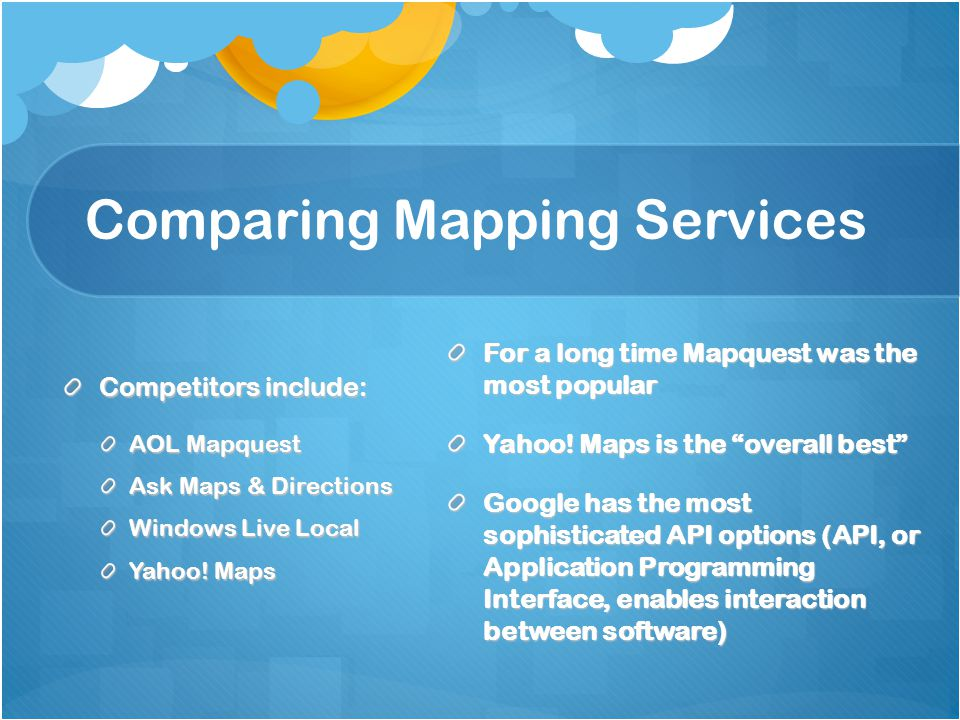Comparing Mapping Services