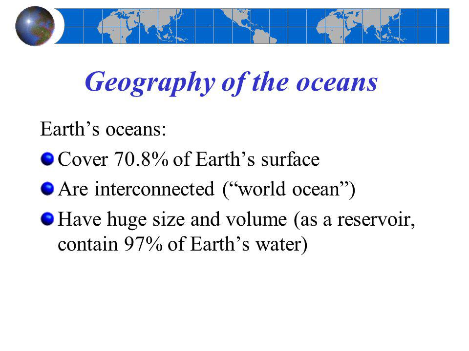 an introduction to the geography of water surface on earth The key terms of chapter 1 from the eighth edition of an introduction to human geography by portion of earth's surface based on what draining water from an.