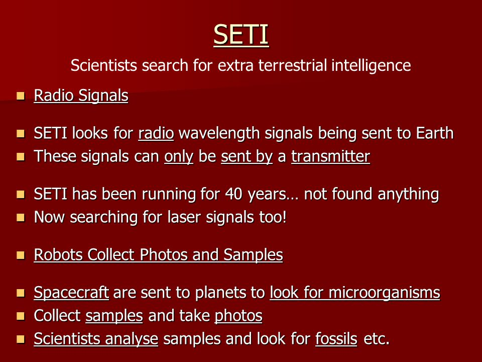Scientists search for extra terrestrial intelligence