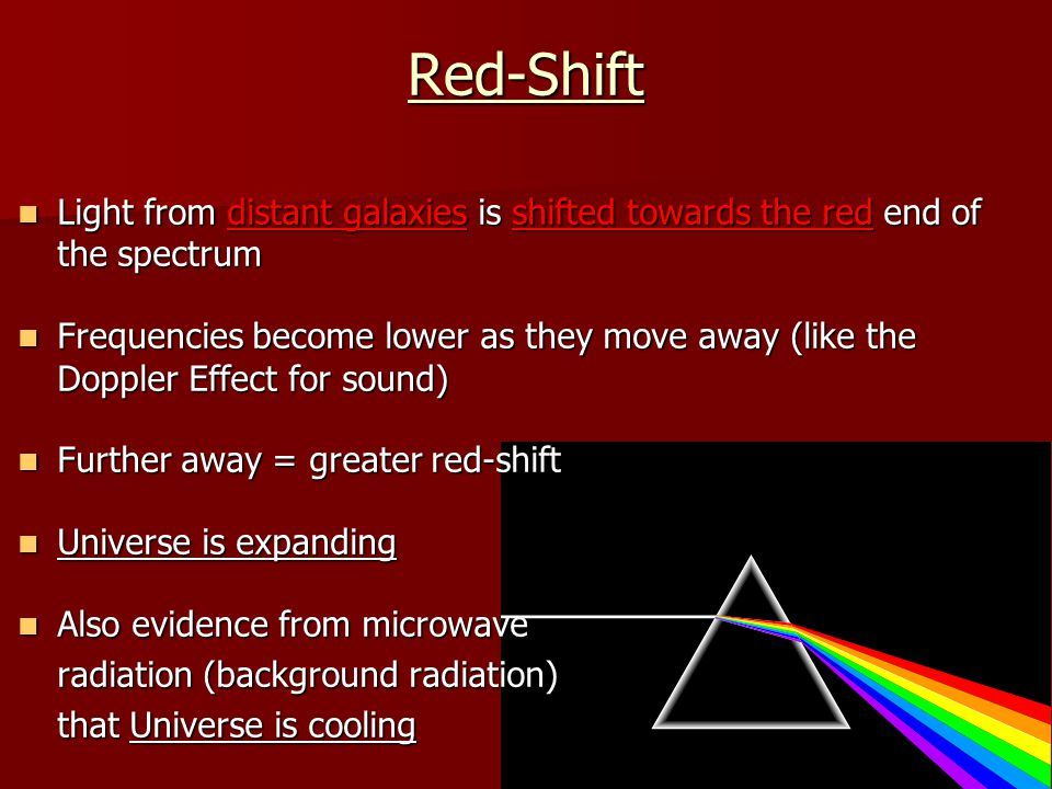 Red-Shift Light from distant galaxies is shifted towards the red end of the spectrum.