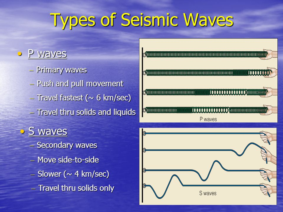 Types of Seismic Waves P waves S waves Primary waves