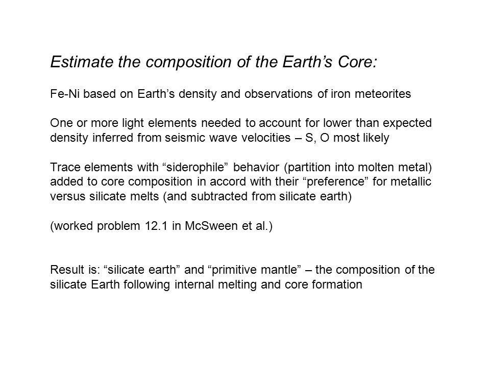 Estimate the composition of the Earth's Core: