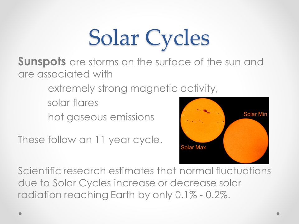 Solar Cycles Sunspots are storms on the surface of the sun and are associated with. extremely strong magnetic activity,