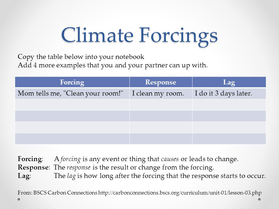 Climate Forcings Copy the table below into your notebook