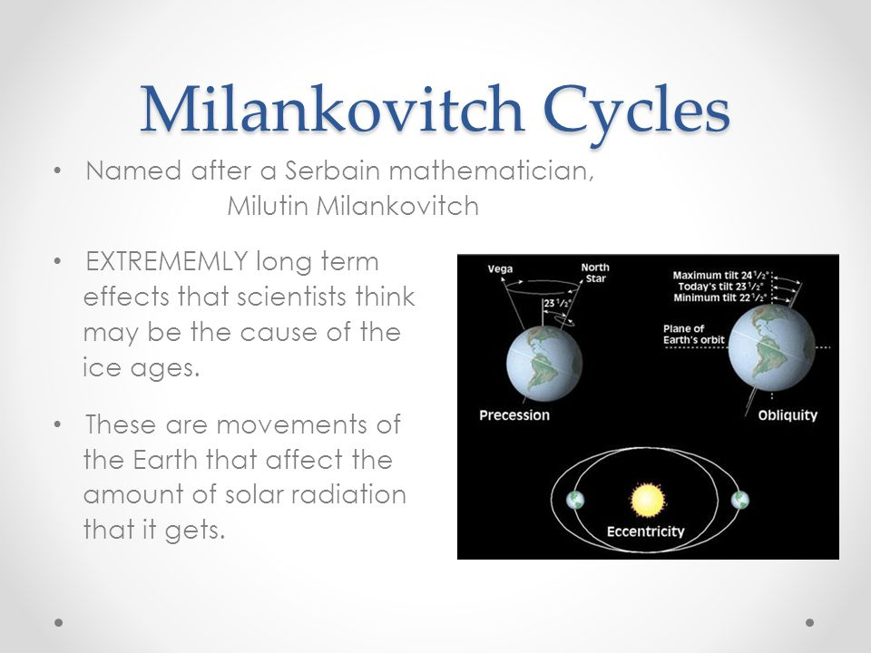 Milankovitch Cycles Named after a Serbain mathematician,