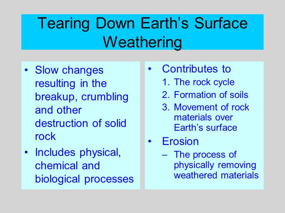 Tearing Down Earth's Surface Weathering