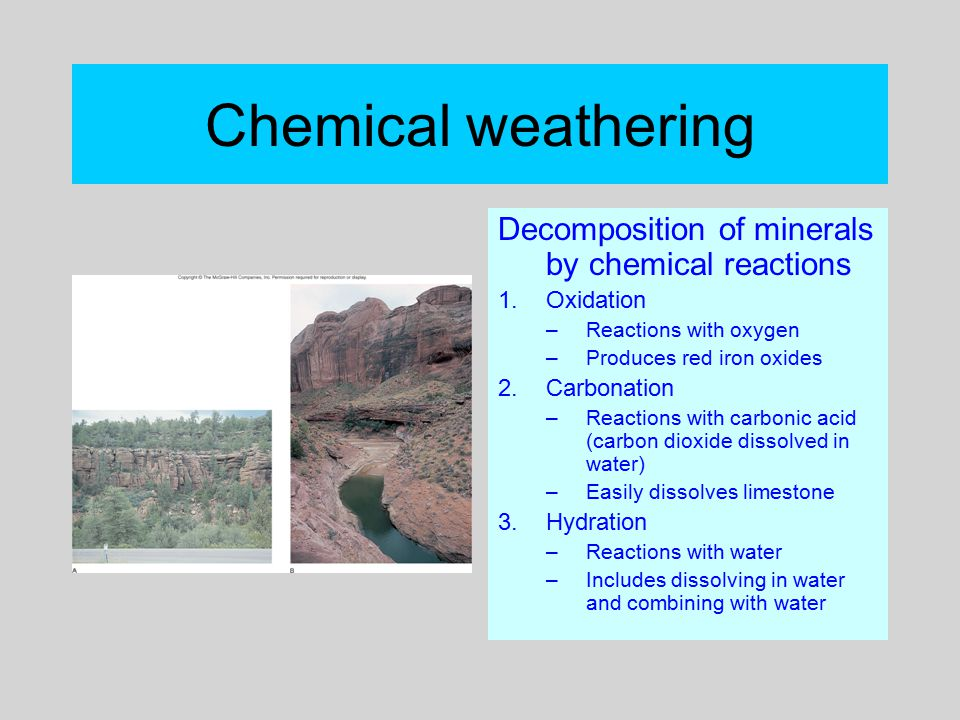Chemical weathering Decomposition of minerals by chemical reactions