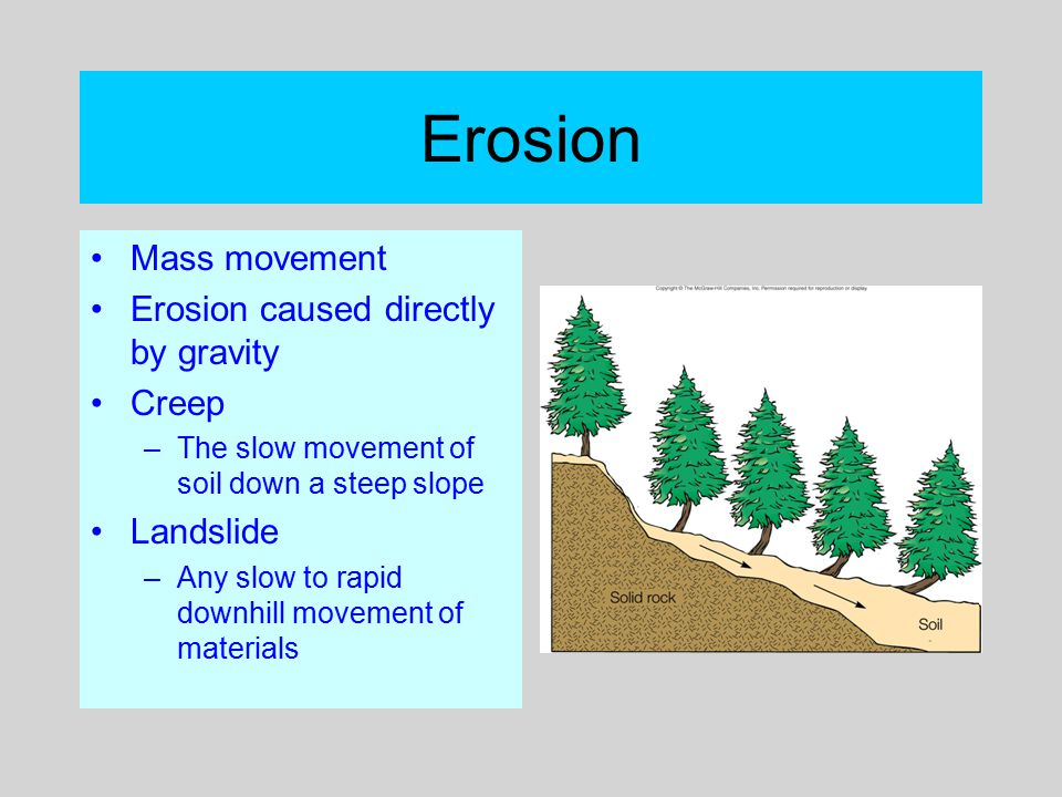 Erosion Mass movement Erosion caused directly by gravity Creep