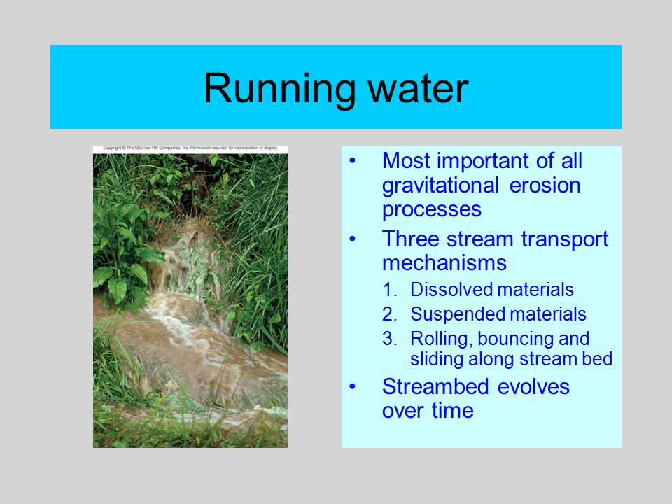 Running water Most important of all gravitational erosion processes