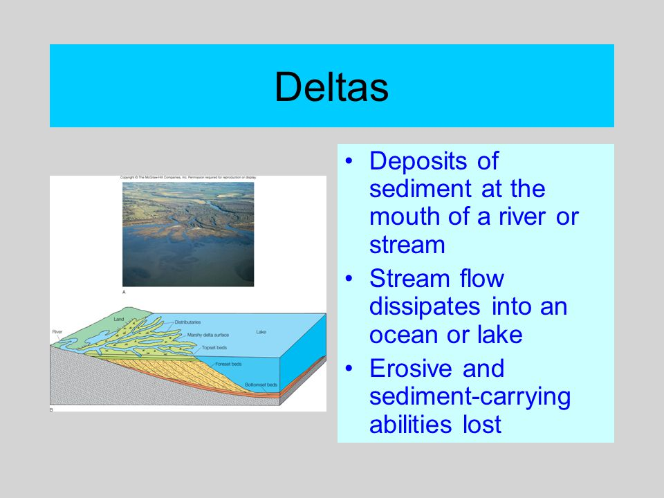 Deltas Deposits of sediment at the mouth of a river or stream