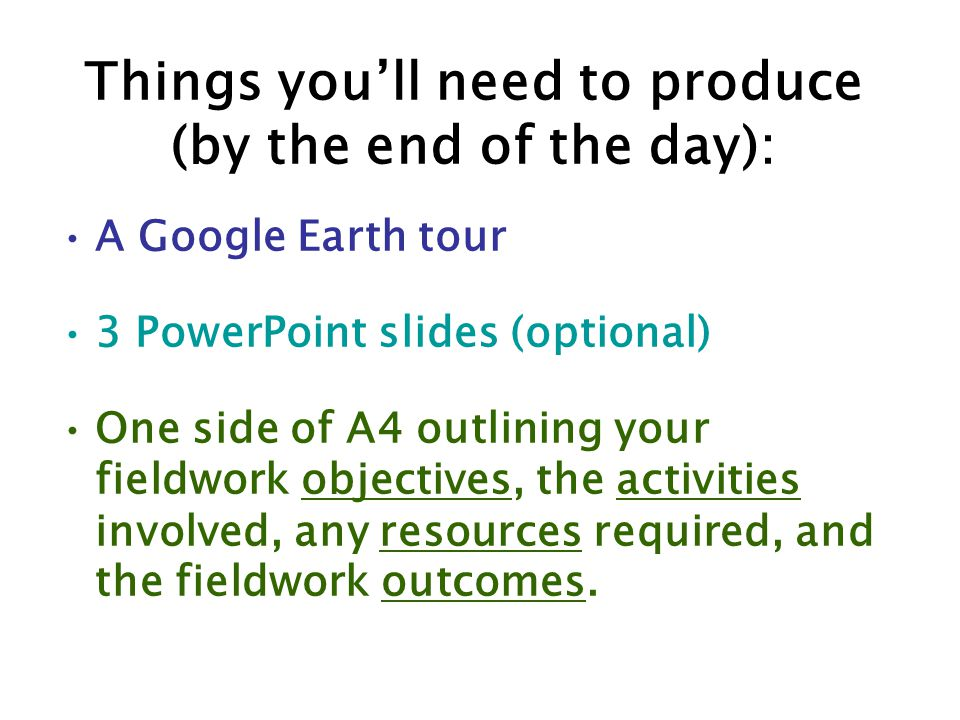 Things you'll need to produce (by the end of the day):
