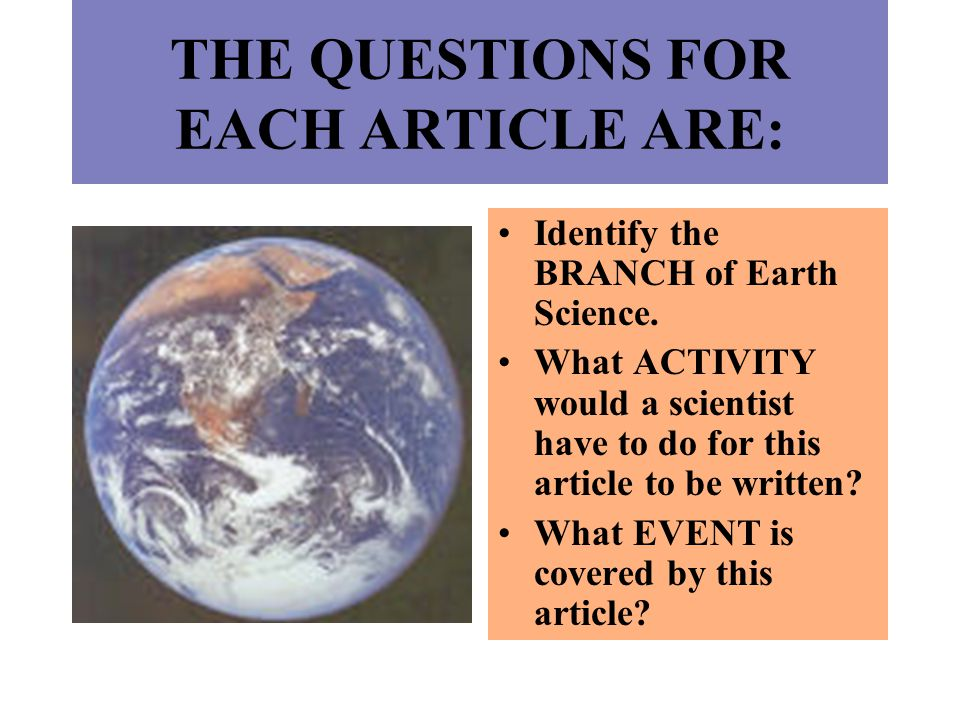 THE QUESTIONS FOR EACH ARTICLE ARE: