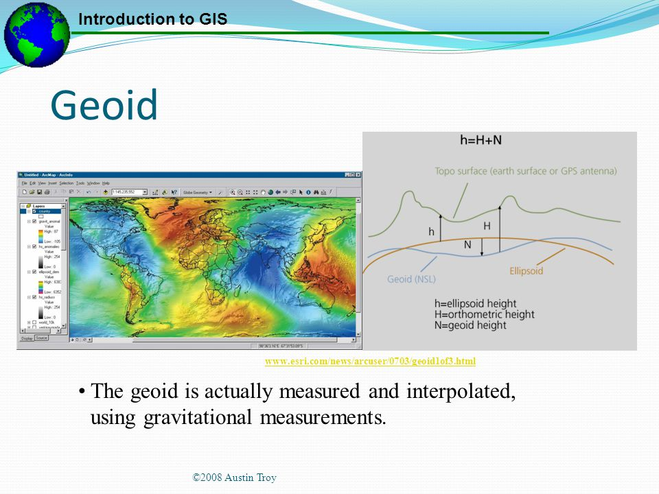 Geoid www.esri.com/news/arcuser/0703/geoid1of3.html. The geoid is actually measured and interpolated, using gravitational measurements.