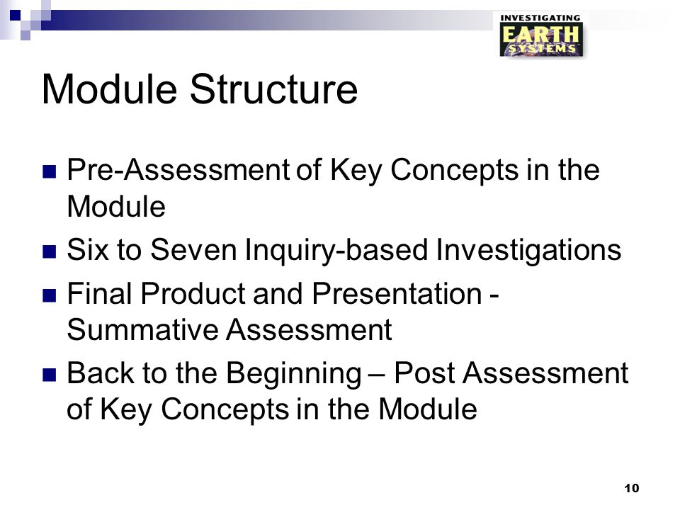 Module Structure Pre-Assessment of Key Concepts in the Module