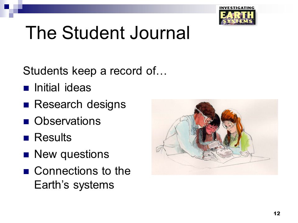 The Student Journal Students keep a record of… Initial ideas