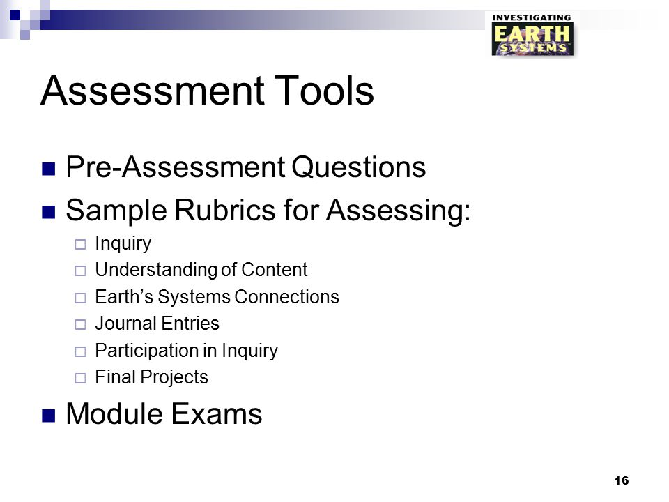 Assessment Tools Pre-Assessment Questions