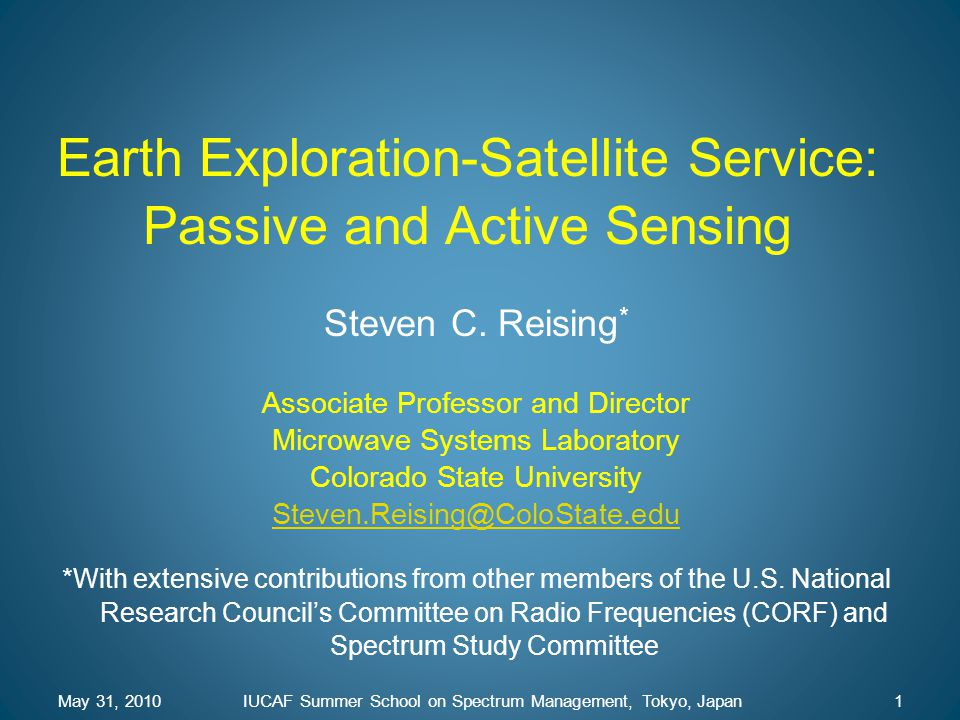 Earth Exploration-Satellite Service: Passive and Active Sensing