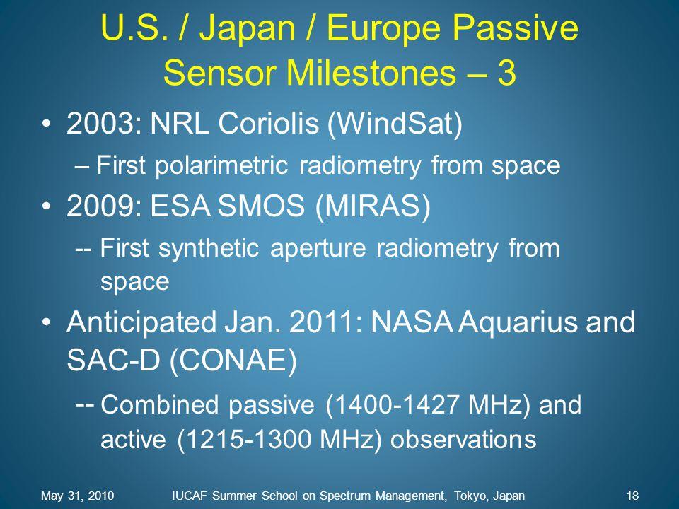 U.S. / Japan / Europe Passive Sensor Milestones – 3