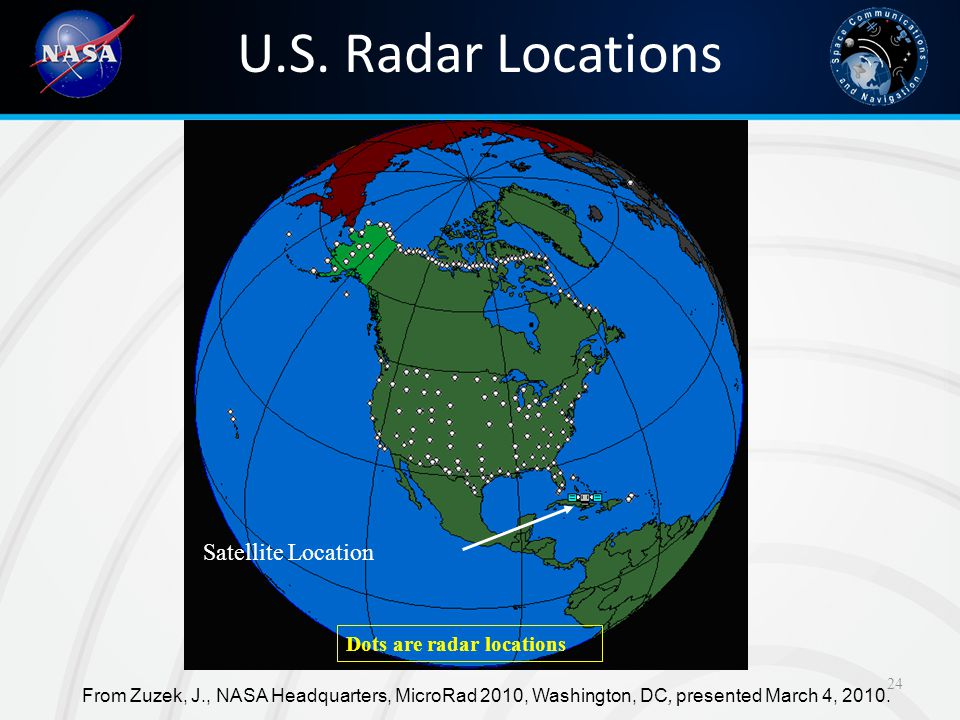 U.S. Radar Locations Satellite Location Dots are radar locations
