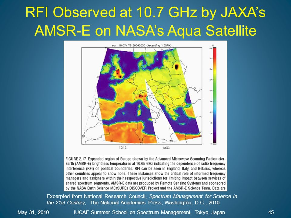 RFI Observed at 10.7 GHz by JAXA's AMSR-E on NASA's Aqua Satellite