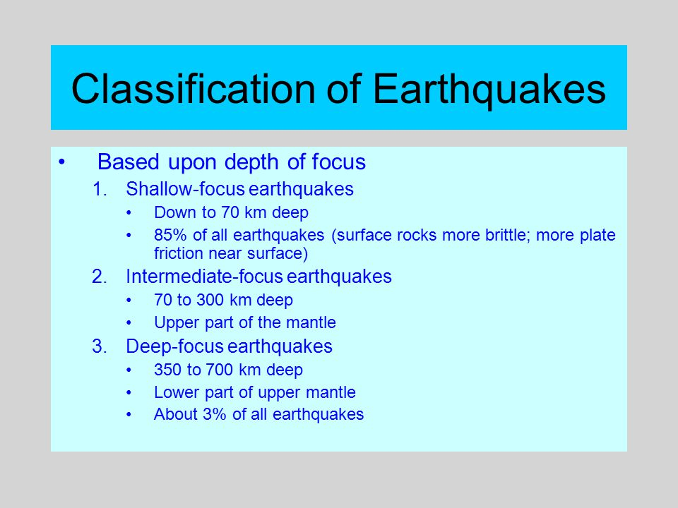Classification of Earthquakes