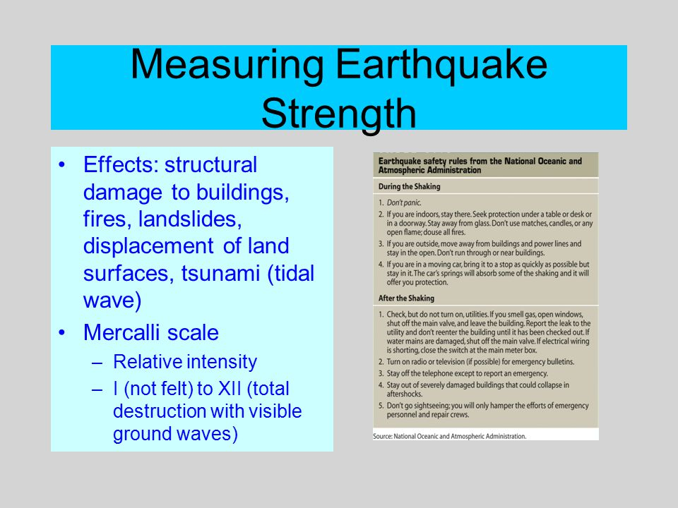 Measuring Earthquake Strength