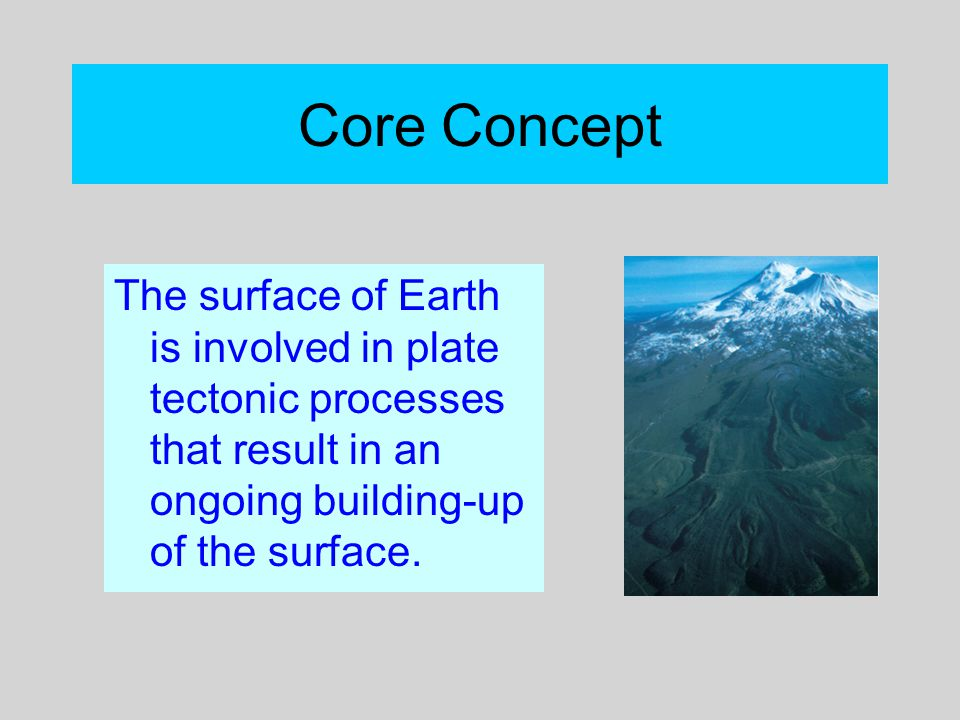 Core Concept The surface of Earth is involved in plate tectonic processes that result in an ongoing building-up of the surface.