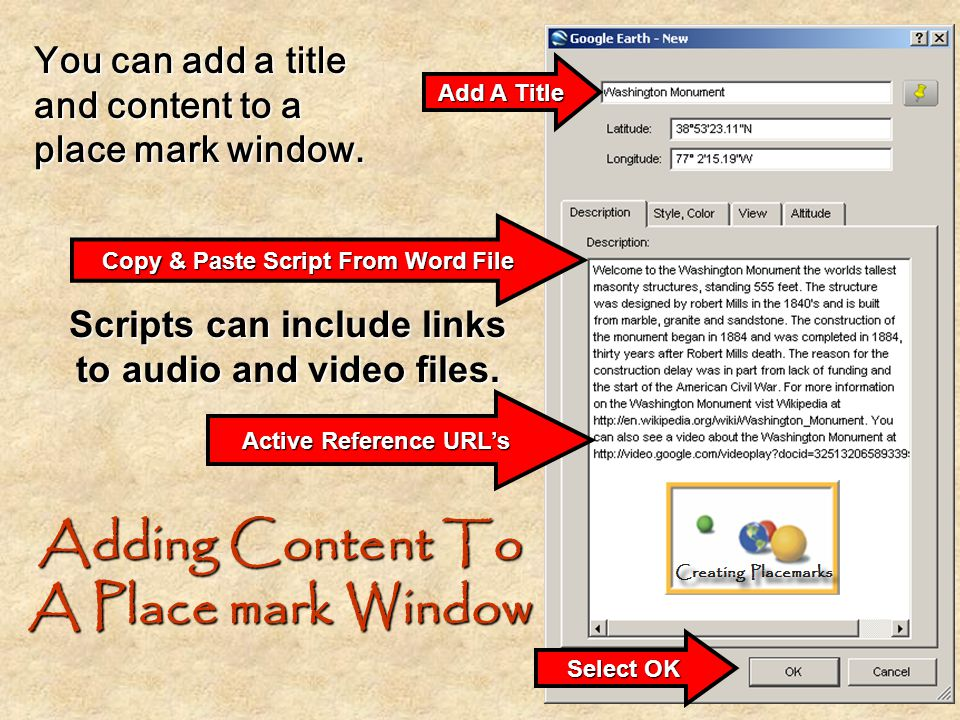 Adding Content To A Place mark Window