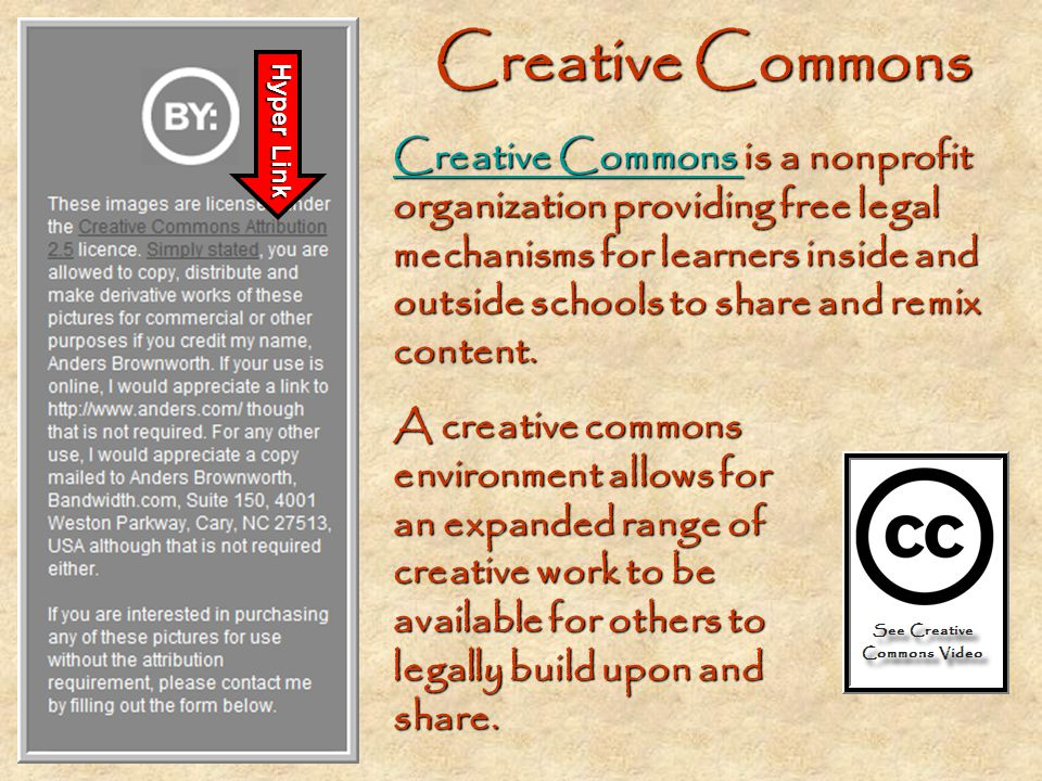 Creative Commons Hyper Link.
