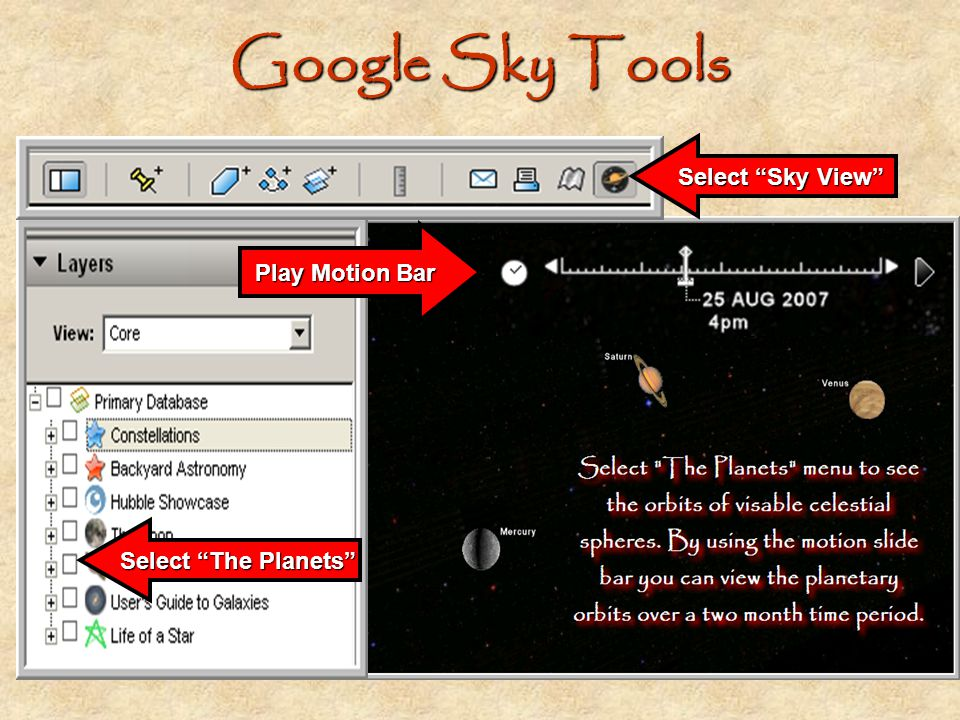 Google Sky Tools Select Sky View Play Motion Bar