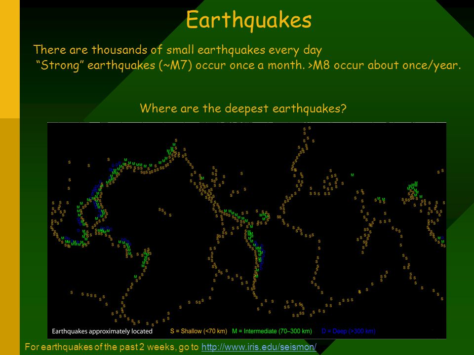 Earthquakes There are thousands of small earthquakes every day Strong earthquakes (~M7) occur once a month. >M8 occur about once/year.