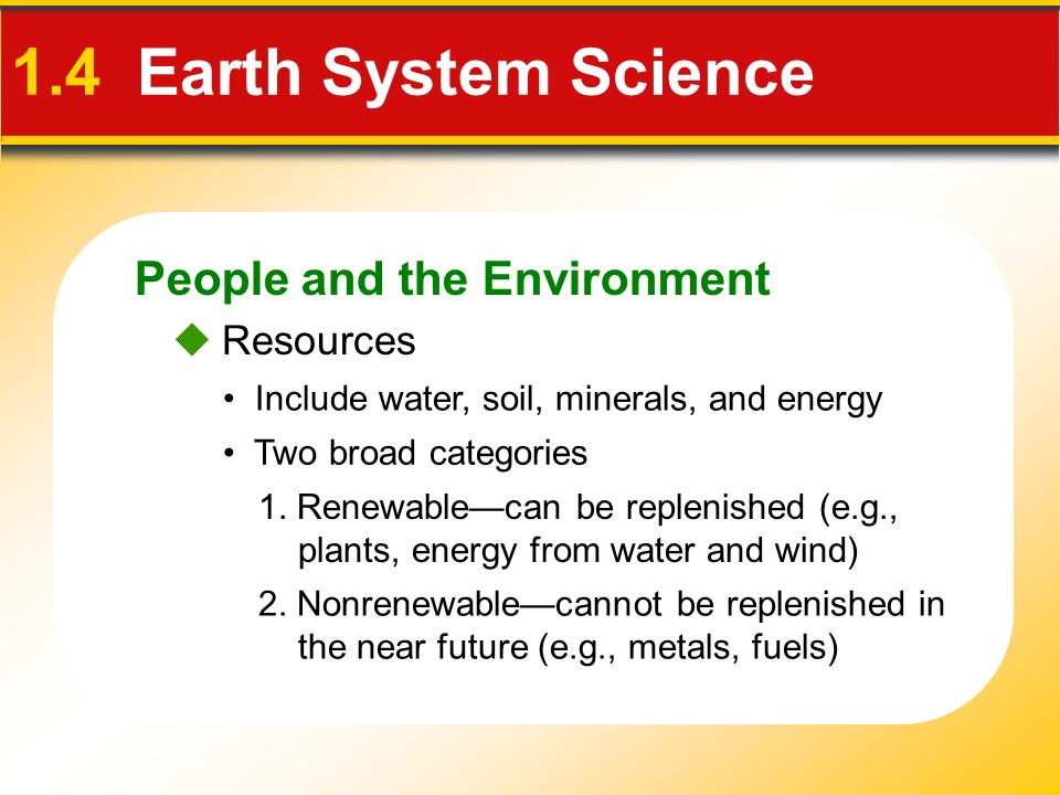 1.4 Earth System Science People and the Environment  Resources
