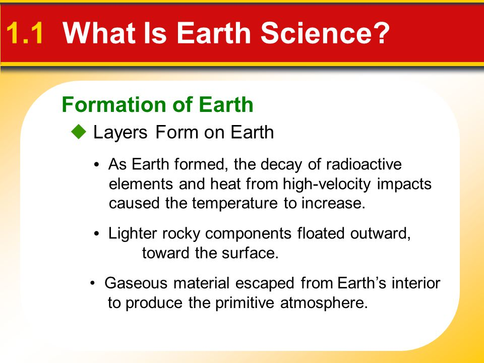 1.1 What Is Earth Science Formation of Earth  Layers Form on Earth