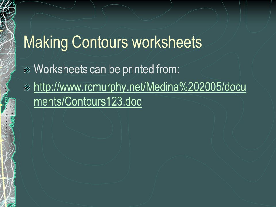Making Contours worksheets