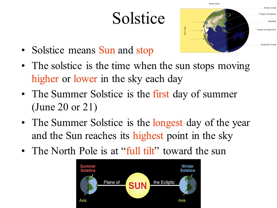 Solstice Solstice means Sun and stop
