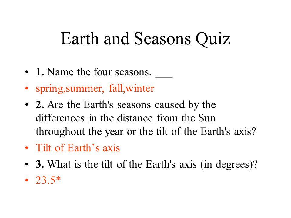 Earth and Seasons Quiz 1. Name the four seasons. ___