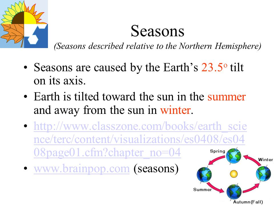 Seasons (Seasons described relative to the Northern Hemisphere)