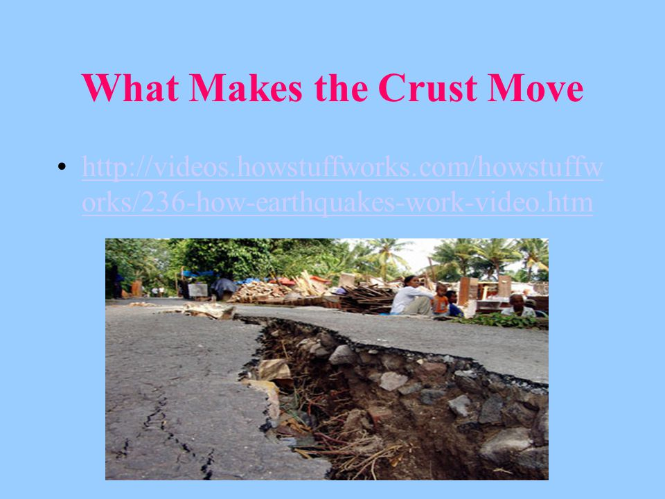 What Makes the Crust Move