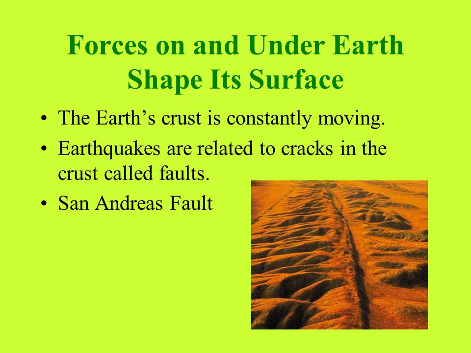 Forces on and Under Earth Shape Its Surface