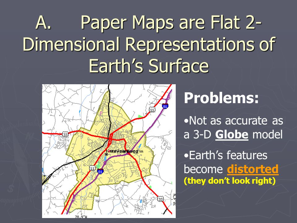 A. Paper Maps are Flat 2-Dimensional Representations of Earth's Surface