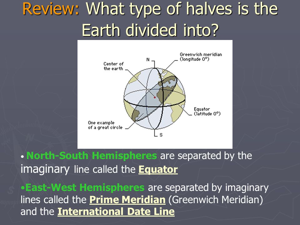 Review: What type of halves is the Earth divided into