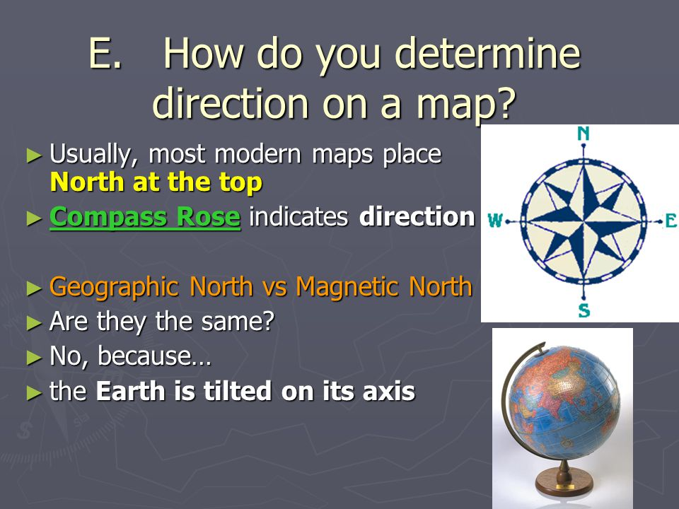 E. How do you determine direction on a map