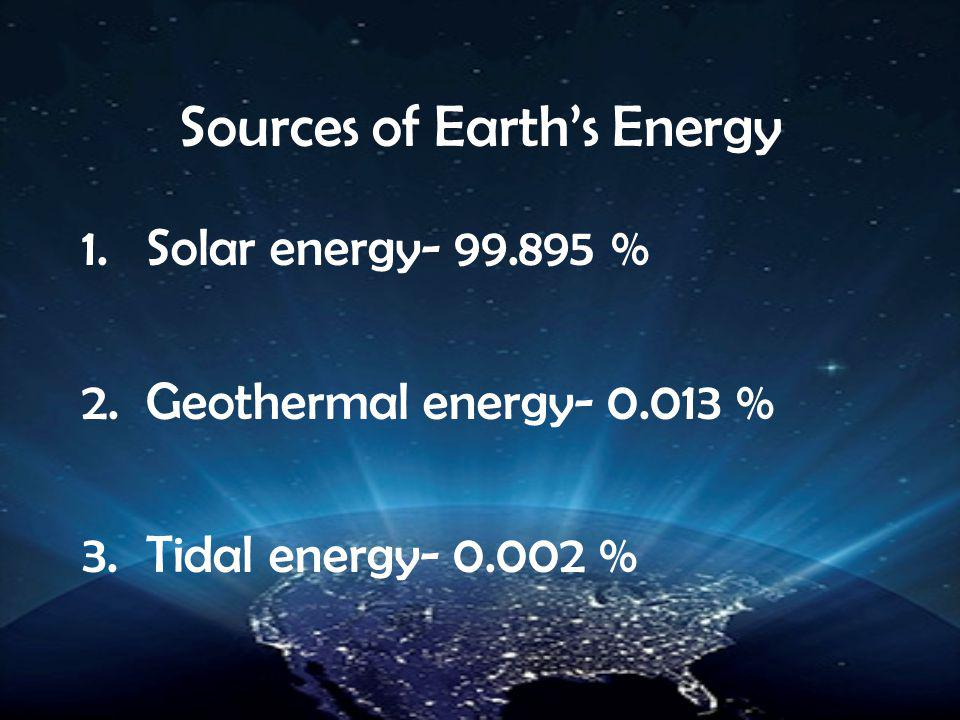 Sources of Earth's Energy