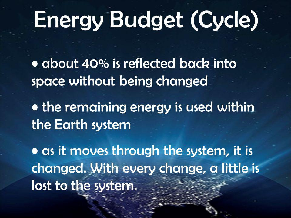 Energy Budget (Cycle) about 40% is reflected back into space without being changed. the remaining energy is used within the Earth system.
